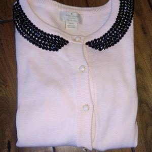 Girls Pink Sweater with Black Rhinestone Collar